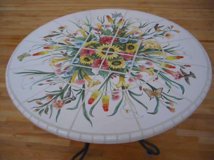 ... Tile Table California Flowers